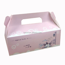 Innovative lovely recyclable cuboid storage paper cake box with handle