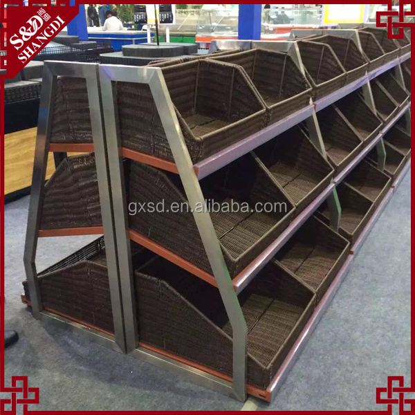Vegetable and fruit display shelves with plastic rattan basket for supermarket