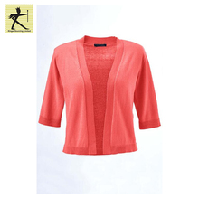 Factory price 100% cotton women side casual lightweight cropped shrug-style short sleeve cardigan knitted custom blank sweater