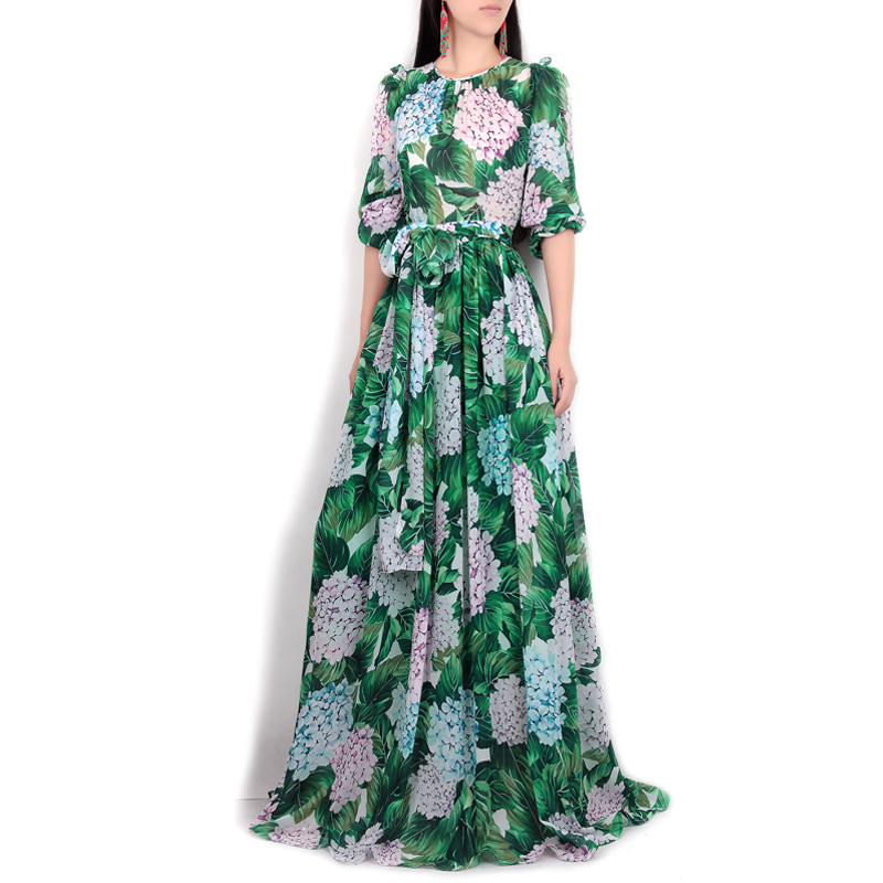 High-quality-new-spring-summer-2017-women-runway-maxi-dress-flowers-green-leaves-printing-Beach-Casual (2)
