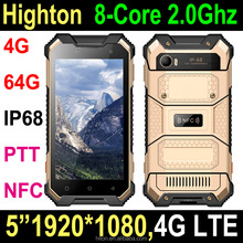 Cheapest Factory 5 inch 4G Ram Android 6.0 8 core octacore MT6755 4G phone IP68 NFC PTT rugged phone rugged smartphone