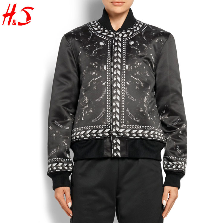 New Arrival Products Zipped Front Chain And Panther Printed Fabric Custom Satin Bomber Jacket For Ladies With A Pointed Collar