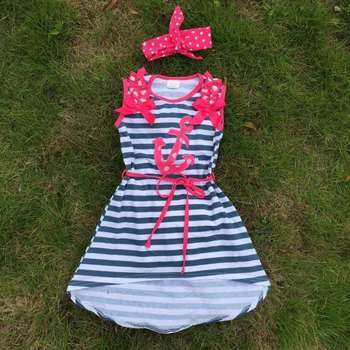 new design kids dress stripe girls anchor dress girls summer dress short front long back dress for girls navy stripe dress