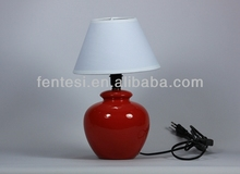 hand painted red ceramic table lamp wholesale with white cover TD251-1