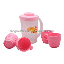 bottle set 1 jug and 4mug 180c pp plastic coffee cups with handles