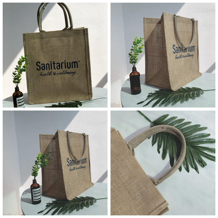 Eco Recycle Printed Custom Logo Jute Tote Shopping Bag