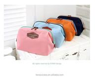 Custom cotton canvas zipper travel pouch cosmetic bag