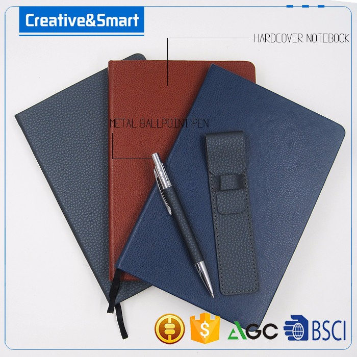 Advertising Printed Leather Cover A5 Embossed Diary Notebook Planners Notebooks