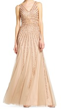 Customized Brilliant Beading Sequins Gold V-neck Floor Length Women's Evening Cocktail Party Dress