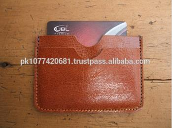 High Quality Vegetable Tanned Leather Card Case Leather Flat Wallet
