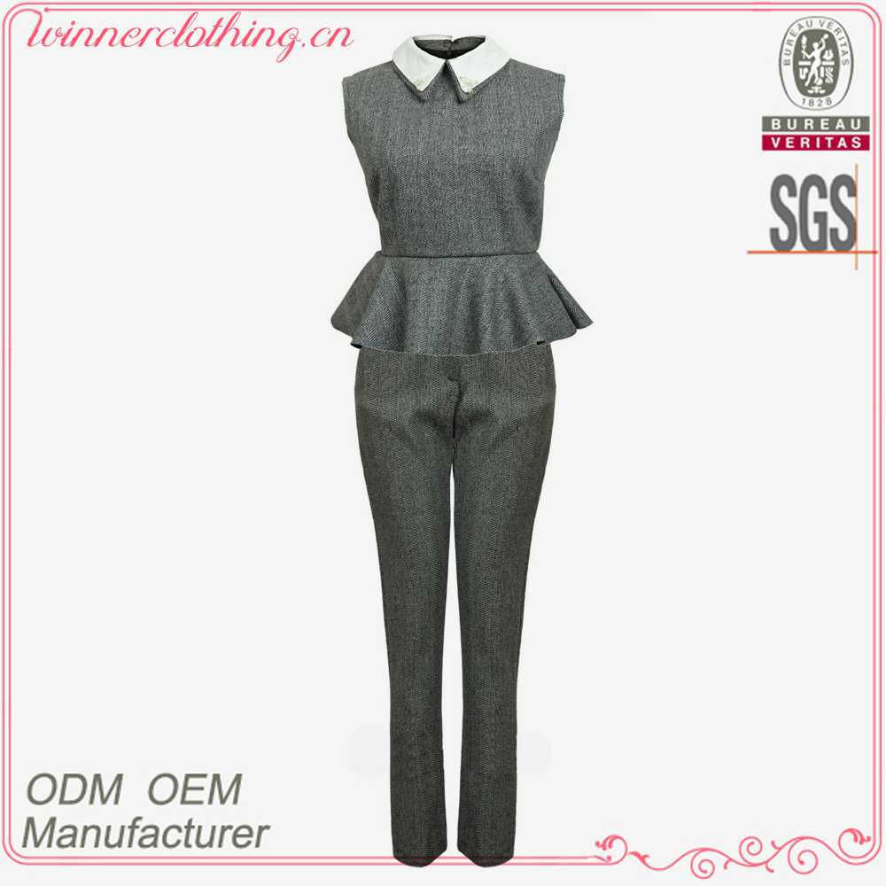 Up-to-date fashion sleeveless and double collar design lady suit with peplum