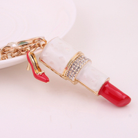 2016 Boom style Sexy Red Enamel Lipstick Shoe Tassel Keychain Fashion Crystal Trinkets Metal Key Chain Ring for Women Girl