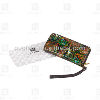 fashion genuine leather zipper wallet / digital printing zipper wallet with a handle