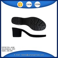 Lady leather shoes low and thick heel TPU sole