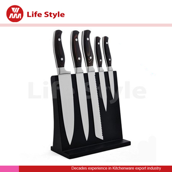 Unique design stainless steel forged knife set two rivets handles with wooden magnetic stand