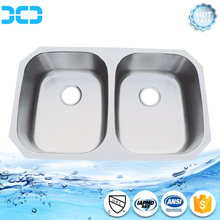 Custom Fitted Square Edge Double Deep Countertop Stainless Steel Kitchen Sink