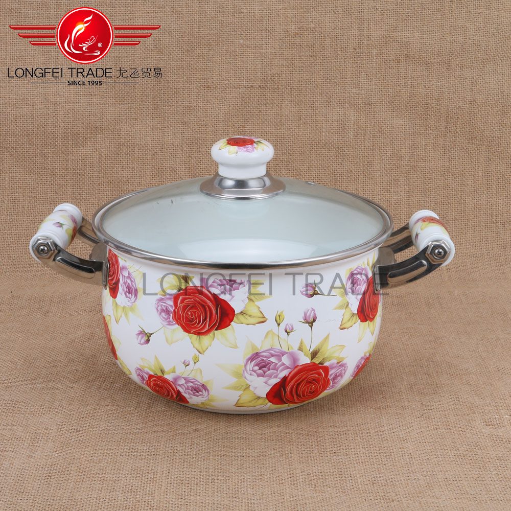 full decal hot selling enamel casserole enamel cookware with glass lids wholesale