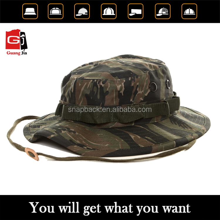 2016 New High Quality Cheap Custom Boonie Cap Classic Military Camo Bucket Hat With String