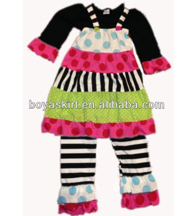 2014Best Sell Colorful Kid Outfits Cotton Suits Set 3 pcs Set Casual kids Clothing Outfit Polka Dot Fashion Kid Clothes OU858