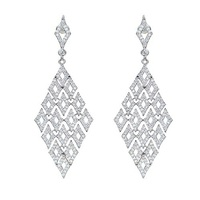 China SJ Producer SJEG2185TKA Fashion Women Micro-Pave Cubic Zirconia Brass Rhodium Plated Hollow Geometric Dangle Earrings