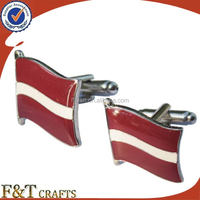 promotional metal national flag cufflinks with epoxy