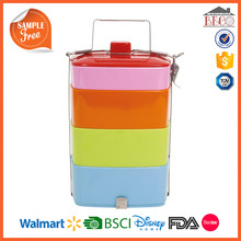 4 Layer Colorful Plastic Melamine Tiffin Carrier Lunch Box