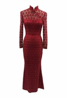 EL-8401 Adorable Floral Lace Chinese Neckline Mermaid Evening Dress