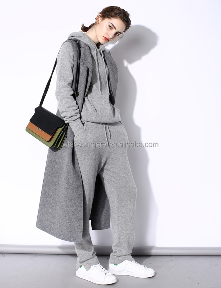 2017 New arrival colourful leisure sport long sleeve drawstring 100% cashmere wool suits tracksuit hoodie and pants for woman