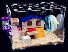 Fancy acrylic hamster cage cute hamster house and box acrylic pets box and carriers