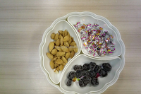 Dried Fruits Candy Snacks Nuts Seeds Box Holder Tray Dish 3 Grids Storage Box