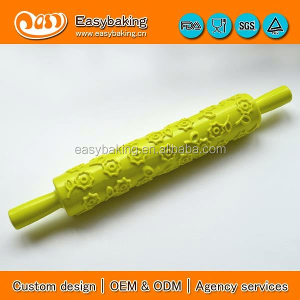 Wholesale Custom fondant cake decorating flower design plastic embossing rolling pins