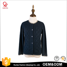 Wholesale latest cotton knitted child kid diamond cable cardigan sweater designs for girls