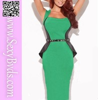 New green splice slimming stretch plus size cocktail dress for party