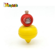 Wholesale cute design wooden gyro toy red and yellow spinning top toy for baby W01A308