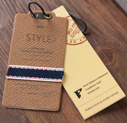 Customized paper jeans hang tags for clothing