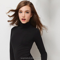 fitting polo neck silk top women
