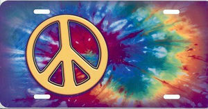 Offset Peace Sign with Tie Dye License Plate