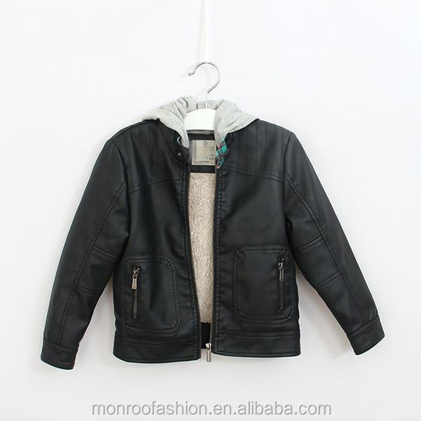 monroo western style detachable hood boys biker jackets winter jackets