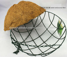 Metal Round Criss Cross Wire Hanging Basket With Coconut Liner
