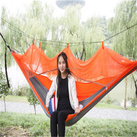 Camping Portable nylon double hammock with 210T,Parachute Hammock with mosquito netting,factory direct sales
