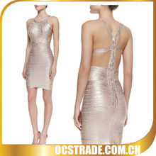 2014 designer halter sleeveless shiny satin cocktail dress pink gold color