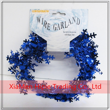 Blue Metallic PVC Snowflake Wired Garlands for X'mas Present Wrapping Decorations