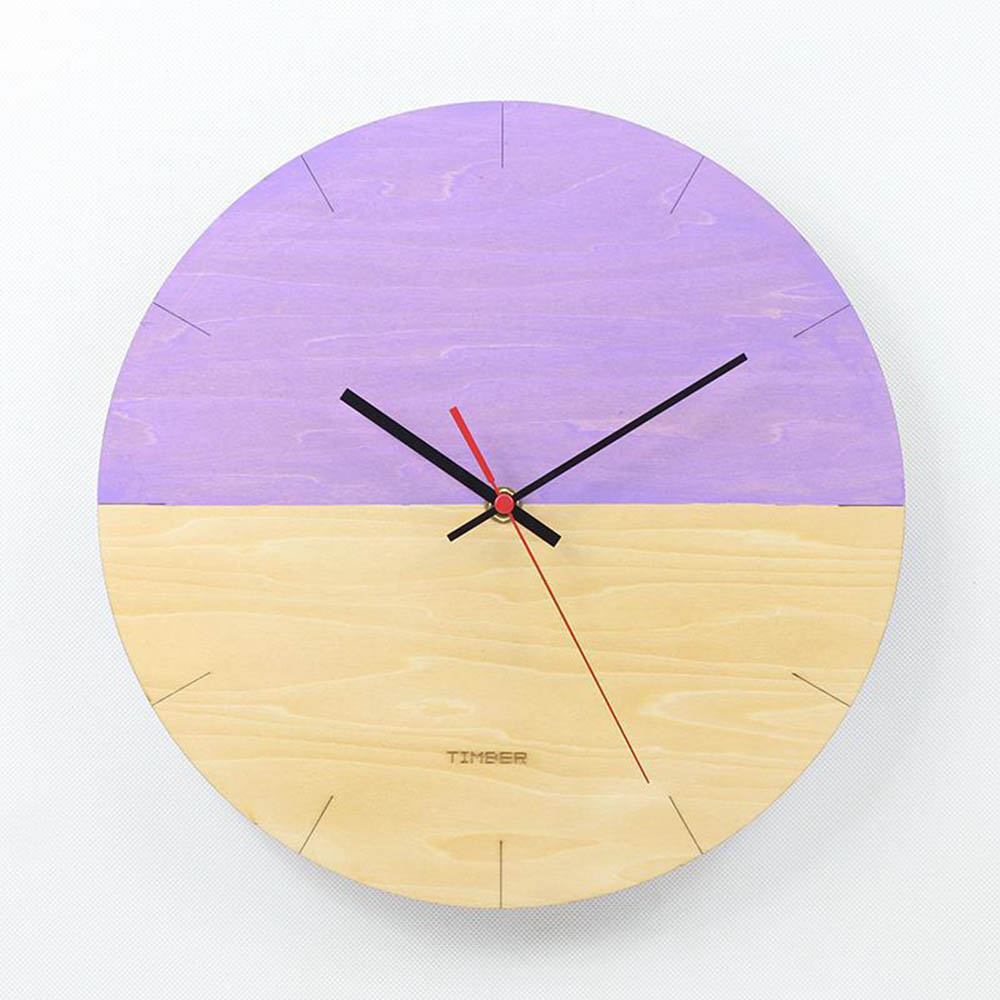 Creative Half empty Wooden Wall Clock 12 inch Clock Simple Wall ...
