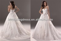 WD2386 Very beautiful strapless sweetheart neck gathered top 3D flowers corset ball gown vintage lace designer wedding gowns