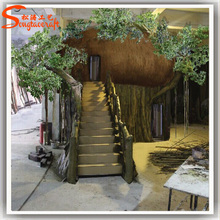 customize all kinds of artificial wooden tree house banyan tree house for home