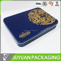 Flat rectangualr cake/biscuit gift packaging metal tin box container