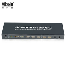 New Arrival HDMI matrix 6x2, 6 in 2 out HDMI Switch Splitter HDMI 1.4V 3D 4kX2K Compatible with all HD equipment