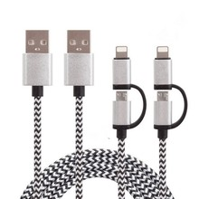 2in1 Kit High Quality Universal Dual 2 Ports Charger Adaptor+ Nylon Braided Micro USB Charging Cable for Iphone and Samsung