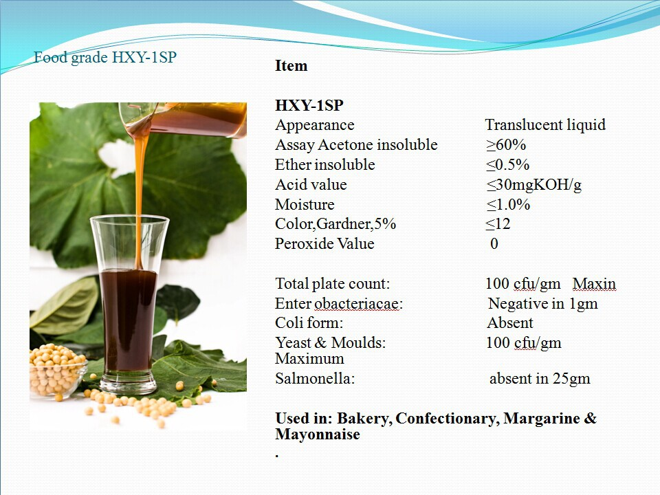 HXY-1SP oil soluble Soybean Lecithin Liquid raw material for biscuit release agent