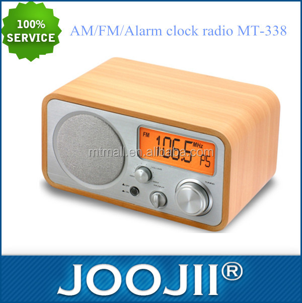 2016 Wooden portable alarm clock retro am/fm radio
